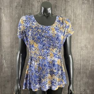 Daisy Fuentes Small Leaf Print Scoopneck Top